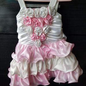 Pink and white ruffled party dress